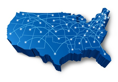 network map: U.S.A 3D map technology communication network symbol represented by a blue dimensional United States with connecting web of fibre optic cell cables with shining center dots.