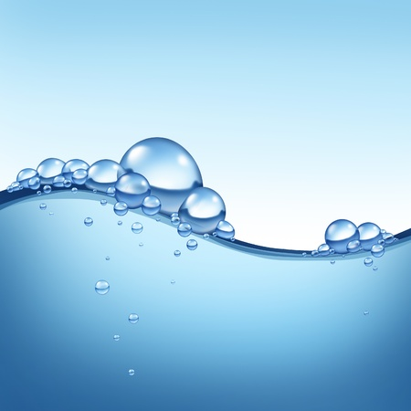 burbujas jabon: Wave en blueflowing líquido con burbujas que representan el concepto de limpieza H2o fresco como un símbolo de la salud y la naturaleza.