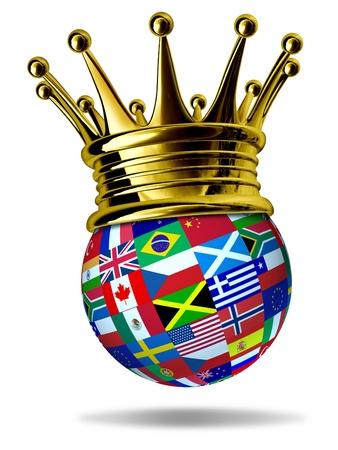 Wereldleider met wereldwijde vlaggen met landen als Verenigde Staten, Engeland, Europa, Italië, Griekenland, China met een gouden kroon die leiderschap en de overwinning in de internationale handel en de World Business. Stockfoto
