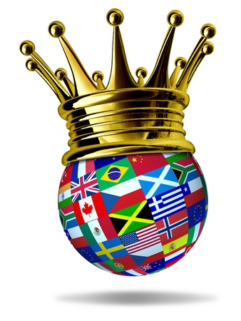 top of the world: World leader with global flags with countries as United States,England,Europe,Italy,Greece,China with a gold crown representing leadership and victory in international trade and world business. Stock Photo