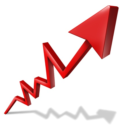 upward graph: Business success graph pointing upward and rising as a symbol of financial success and economic indicator of profitability and growth in market share on white background with shadow.