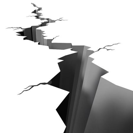 fissure: Tremblement de terre craquelée rez whie montrant un énorme trou dans le sol causée par une terre dangereuse éclatement en cas de catastrophe sismique qui a été très élevé sur l'échelle de Richter et causant des répliques de l'épicentre de la secousse. Banque d'images