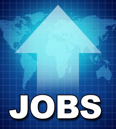 werk: Werkgelegenheid en nieuwe banen symbool vertegenwoordigd door tekst en een pijl naar boven met de stijgende beroepsbevolking en het toevoegen van de werkgelegenheid als gevolg van de verbetering van de goede economie.
