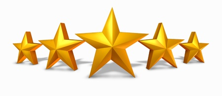 star: Gold star rating with five golden stars representing an award of excellence and luxury as a symbol and concept of competition success and best quality with a white background.
