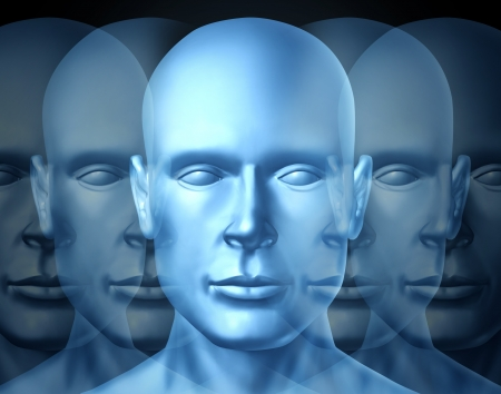 Business Leadership and vision Training with a blue frontal human head showing openess to learn and lead a financial team into a successful career and corporate future.