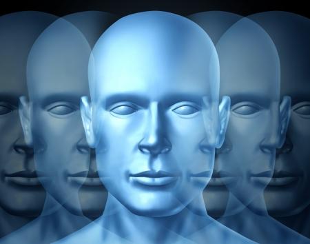 leiderschap: Zakelijk Leiderschap en visie Trainen met een blauwe frontale menselijk hoofd met openheid om te leren en leiden van een financieel team in een succesvolle carrière en corporate toekomst. Stockfoto