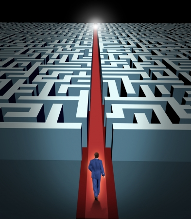 Leadership and business vision with strategy through corporate challenges and obstacles represented by a maze and  a business man in a labyrinth with a clear solution shortcut path opened with a red velvet carpet to lead the way to success and victory. Stock Photo