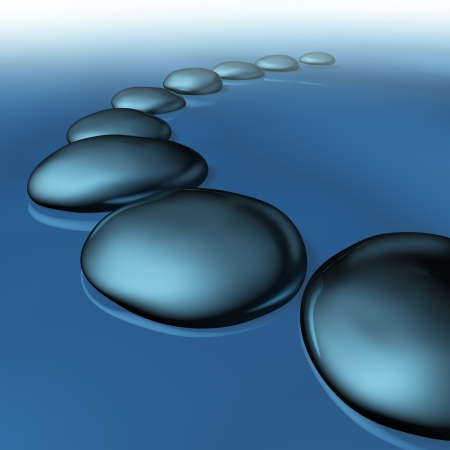 Glatte Kiesel im Wasser als Symbol der Ruhe und des Gleichgewichts in der Spiritualität und Zen Wohlbefinden als einen gesunden Lebensstil für alternative Medizin Meditation in einer Spa-Behandlung mit Nebel wie Nebel und beruhigende See.