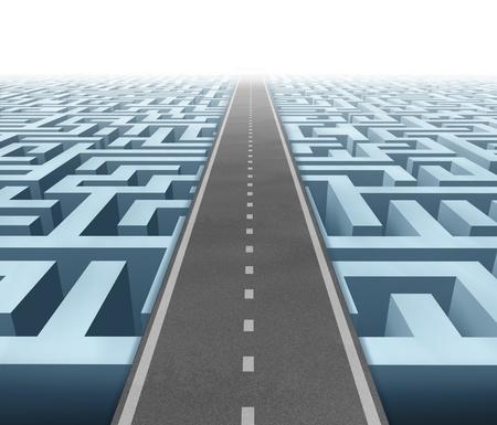 goals: L�sungen und Erfolg mit einer klaren Vision und Strategie durch sorgf�ltige Planung und das Management den Aufbau einer Stra�enbr�cke �ber ein Labyrinth Durchtrennen der Verwirrung und Erfolg im Business und Leben. Lizenzfreie Bilder