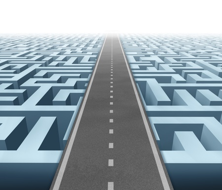 Solutions and success with clear vision and strategy due to careful planning and management building a road bridge over a maze cutting through the confusion and succeeding in business and life. Stock Photo - 11359708