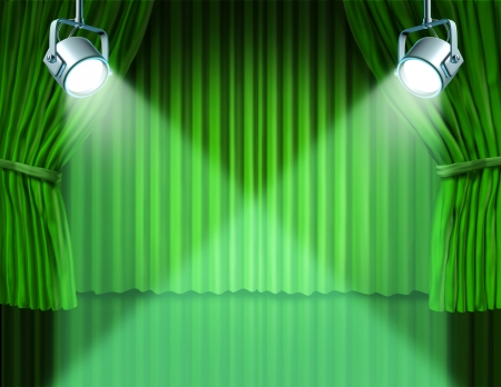 Theater stage with spotlights on green velvet cinema curtain and drapes representing the entertainment communications concept of an important announcement in a rich cinema and theater environment.