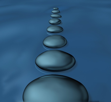 Stepping stones with smooth rocks in water as a symbol of tranquility and balance in spirituality and zen well being as a healthy lifestyle for alternative meditation medicine in a spa treatment as a way to inner success.