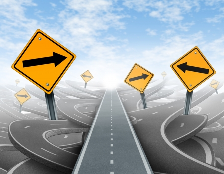crossroads: Clear strategy and solutions for business leadership symbol with a straight path to success as a journey choosing the right strategic path for business with blank yellow traffic signs cutting through a maze of tangled roads and highways.