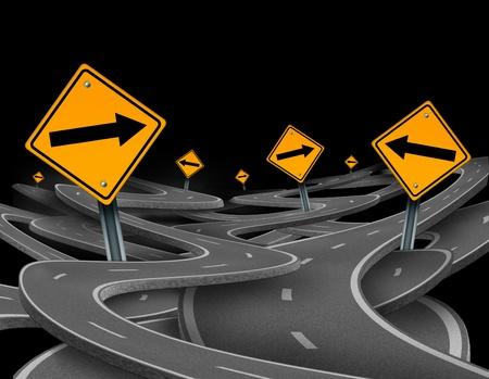 Op koers te blijven symbool dat staat voor dilemma en het concept van het verliezen van controle en de strategische reis kiezen van de juiste strategische weg voor zaken met verkeersborden verwarde wegen en snelwegen in een verwarde richting.