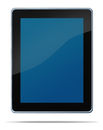 media gadget: Tablet computerdigital display touch screen electronic gadget on a white background and shadow representing the technology concept of computing media tool for digital content distribution as digiat music e-books movies and internet browsing. Stock Photo