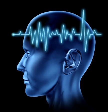 cognitive: Human Brain ECG Health monitoring of the electrical signals that cause seizures in the human mind and charting the cognitive mental function of the intelligence of the anatomy of the body. Stock Photo