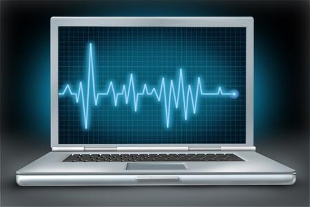 컴퓨터 상태 노트북 수리 소프트웨어 하드웨어 심전도 심전도 스톡 콘텐츠