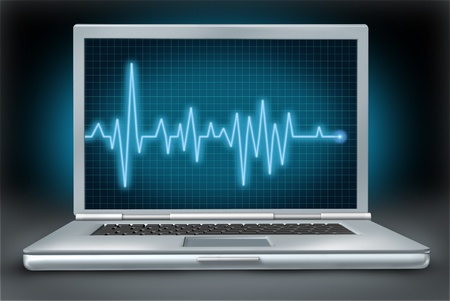ecg monitoring: computer health laptop repair software hardware ecg ekg  Stock Photo