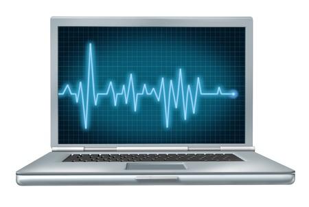 computer: computer health laptop repair software hardware ecg ekg  Stock Photo
