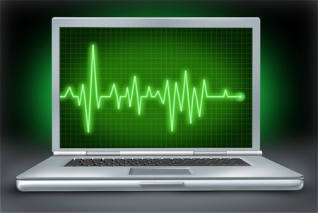 computer health laptop repair software hardware with green ecg ekg