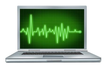 Salute del computer portatile riparazione hardware software con verde ekg Archivio Fotografico - 12034663