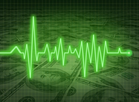 EKG ECG financial health economy money status savings critical condition Stock Photo