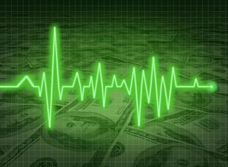 investing: EKG ECG financial health economy money status savings critical condition Stock Photo