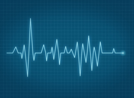 pulse trace: ECG pulse heartbeat life sign blue line Stock Photo