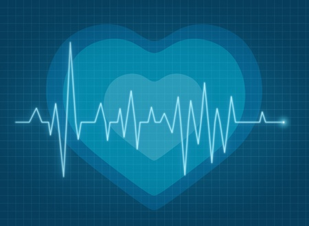 ECG pulse heartbeat with heart background blue line photo