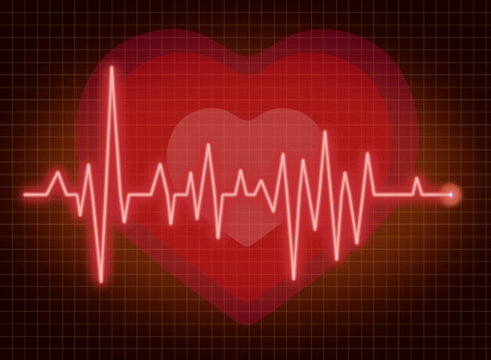 ECG pulse heartbeat with heart background red line photo