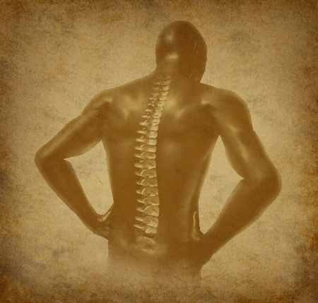 spine pain: Human back spine spinal pain ancient grunge old medical parchment Stock Photo