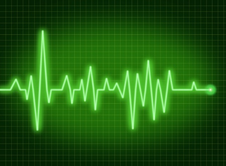 pulse trace: ecg ekg monitor pulse rate medical symbol of health and healthy lifestyle green