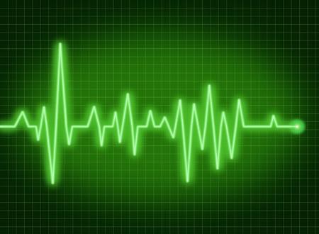 tętno: ekg Monitor tętna medycznych symbol zdrowia i zdrowego stylu życia, zielony