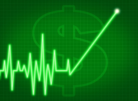 savings account growth taxes stock prices rise ekg monitor business symbol profits dividends investment chart success up Green Stock Photo - 11718498
