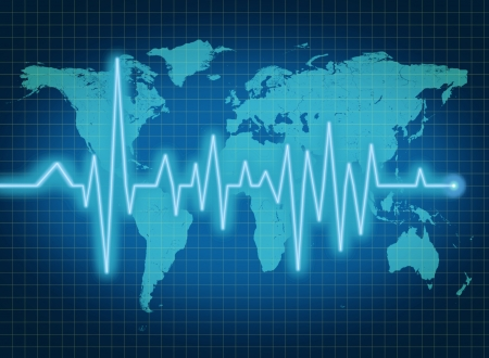 pulse trace: EKG ECG world health economy political condition blue Stock Photo