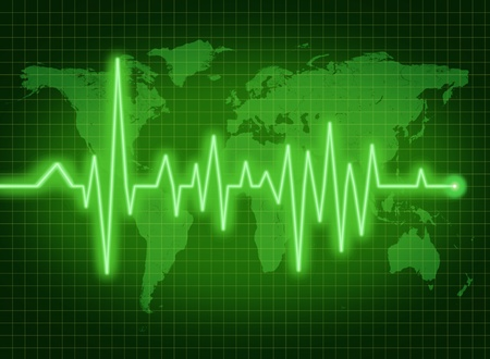 data: EKG ECG world health economy political condition green Stock Photo