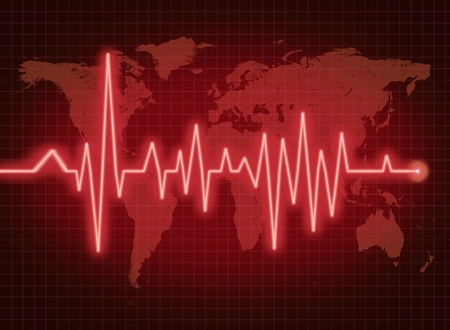 EKG ECG world health economy political condition red