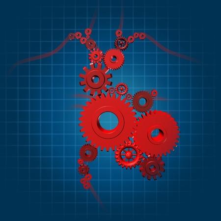 by pass surgery: human heart function valves gears medical symbol blood flow pumping coronary circulatio Stock Photo