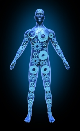 human body: Human body function health symbol medical icon gears cogs anatomy healthcare Stock Photo