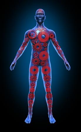 Het menselijk lichaam de functie rode versnellingen gezondheidszorg medische symbool pictogram Stockfoto