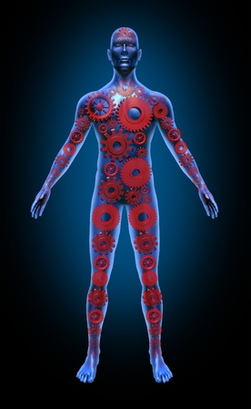 Human body function red gears health care medical symbol icon Stok Fotoğraf