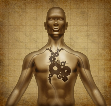 circolazione: Cuore umano corpo della funzione pergamena grunge, documento valvole medico ingranaggi simbolo del flusso sanguigno medico pompaggio circolazione coronarica