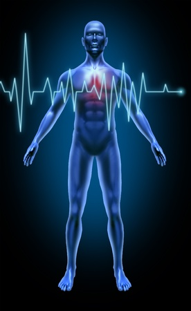 Human body heart beat monitoring rate stroke heart attack medical x-ray pose joints muscles blue