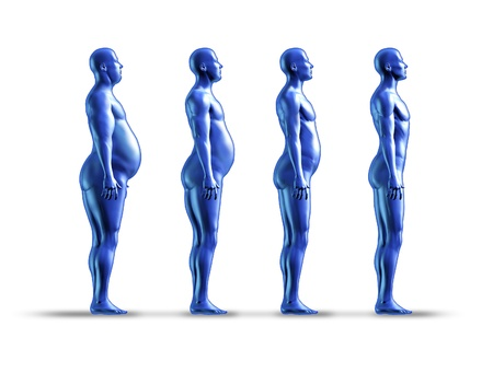 Human weight loss chart symbol represented by an obese human gradualy losing fat resulting in a healthy fit man