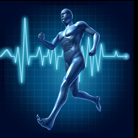 cardiovascular exercising: Running human with heart monitor symbol representing health and pulse rate