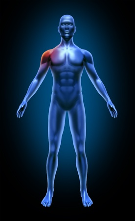 Human body shoulder pain accident medical xray pose joints muscles blue photo