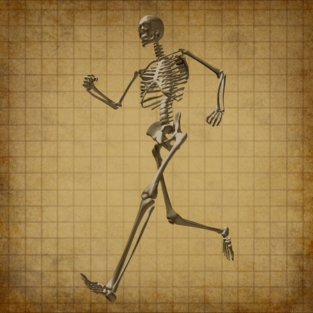 old people: Skeleton running medical health care grunge old parchment document fitness bones symbol chart diagram Stock Photo