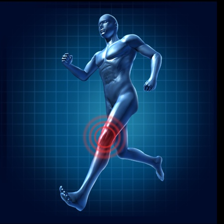 therapist: Running man with knee pain and injury representing a medical symbol of healt Stock Photo
