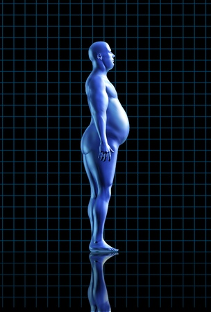 obese calories health fitness diet exercise medical health healthy arrow fat transformation blue human symbol Stock Photo - 11530364