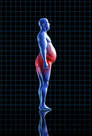 obese calories health fitness diet exercise medical health healthy arrow fat transformation blue human symbol Stock Photo - 11530365